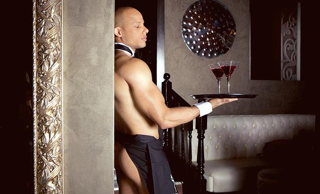 Sexy nude male waiters